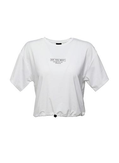 Lumberjack Ct206 Lena Gathered T-Shi Kadın Kısa Kol T-Shirt Beyaz